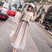 安妮纯女春装2020新款套装裙毛衣裙子气质春季很仙的两件套洋气网红初秋