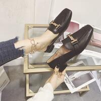 冬季新品加绒毛毛鞋女冬外穿鞋子女韩版一脚蹬 黑色脚肥建议拿大1码 可拆毛垫