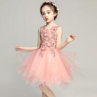 女童晚礼服公主裙小花童蓬蓬裙儿童主持人粉色婚纱钢琴演出服夏季