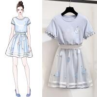 小清新网纱连衣裙女夏学院风裙子套装初恋甜美学生两件套