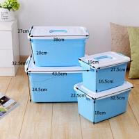 纳箱塑料特大号衣服储蓄储物箱玩具整理箱有盖收纳盒三件套 ()