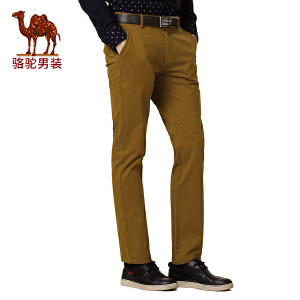 骆驼男装 冬款新品微弹中腰纯色直筒牛仔裤 商务休闲长裤 男