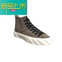 新品上市18冬季新款加绒板鞋男保暖韩版潮流高帮鞋拉链精神小伙鞋子休闲 卡其色 加绒