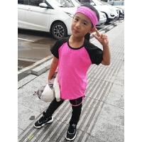 女童运动套装夏季中大童儿童女孩短袖速干衣户外健身跑步三件套潮