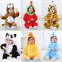 0-1-2岁男婴儿冬季抱外出动物连体衣6个月秋冬装新生儿女宝宝衣服