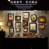 实木走廊美式照片墙相框墙创意组合免打孔装饰餐厅客厅卧室悬挂 尊贵奢华 6140