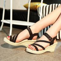 夏季坡跟女凉鞋露趾韩版平底休闲鞋妨高跟鞋草编鱼嘴沙滩鞋