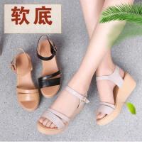 夏季新款皮女凉鞋坡跟防滑舒适休闲女鞋日常百搭韩版皮凉鞋