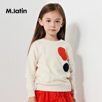 【3件7折价:104.3元】马拉丁童装女童套头圆领毛衣冬装新款时尚不规则撞色波点上衣