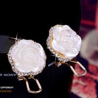 耳饰 玫瑰花 朵无洞耳夹 女士时尚耳环 假耳钉女款