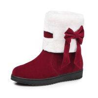 雪地靴女新品短筒靴磨砂棉靴女冬加绒冬季加厚学生