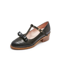 爱旅儿哈森旗下复古T字带粗跟低跟玛丽珍鞋单鞋EL78202