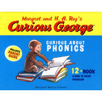Curious George Curious about Phonics(with Parent Guide, 12 Books) 好奇猴乔治读故事学发音(12册,含家长导读)9780618956708