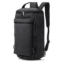 双肩包男韩版户外旅行背包帆布男士背包大容量旅游圆桶包学生书包旅行用品