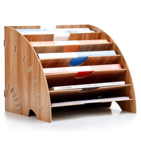 木质桌面收纳盒办公用品整理置物框收纳文件架多层A4资料书架简约现代办公桌面文件收纳 033款 樱桃木