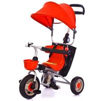 折叠儿童宝宝婴幼儿1-3岁手推三轮车脚踏车自行车免安装溜娃车 苹果红带蓬(折叠免安装) 晒单送滑板车