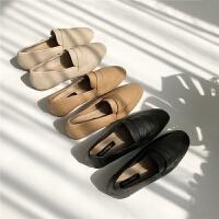 韩版简约复古款大象纹路橡胶软底深口秋冬新款单鞋低帮鞋