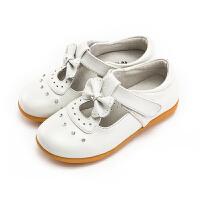 女童皮鞋春季新款蝴蝶结公主鞋真皮女孩单皮鞋软底防滑儿童鞋
