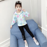 儿童冲锋衣 女童时尚上衣2020秋季韩版女孩儿童中大童卡通可爱印花短款潮外套