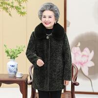 中老年人女装奶奶秋冬装毛呢外套60-70岁80老人呢子大衣妈妈毛领