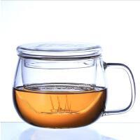 北斗正明玻璃杯 带盖带把透明创意耐热水杯花茶杯双层牛奶 办公杯 情侣杯