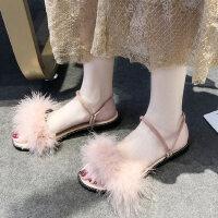 晚晚鞋平底女士凉鞋仙女风户外时尚百搭两穿配长裙子的毛毛鞋
