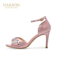 【秋冬新款 限时1折起】哈森夏季全凉鞋女性网络款细跟鞋子HM77192
