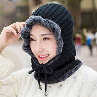 帽子女秋冬天韩版潮毛线帽户外骑行针织护耳帽学生围脖一体保暖帽