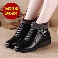 妈妈 鞋子女冬季棉 鞋子平底加绒中老年保暖皮 鞋子棉靴老人滑短靴子