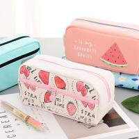 帆布笔袋女大容量 韩国可爱铅笔盒 创意初中小学生文具袋