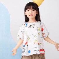 【5折券预估价:149.5元】马拉丁童装女大童衬衫2020夏装新款宽松娃娃衫白色印花短袖