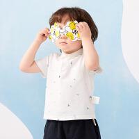 【秒杀价:135元】马拉丁童装男小童T恤2020夏装新款帅气POLO领白色短袖