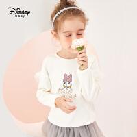 【2件2.4折:52.5元】迪士尼童装女童长袖T恤儿童宝宝上衣2021春装洋气黛西打底衫