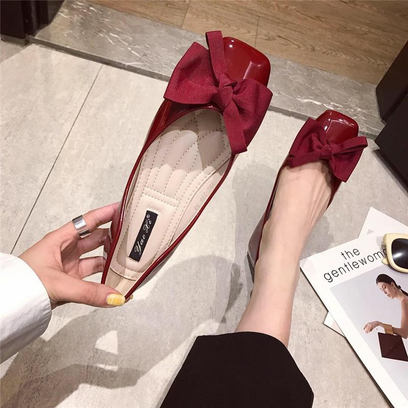 单鞋女2019新款时尚方头气质甜美蝴蝶结平底鞋一脚套单鞋红色单鞋
