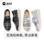 jm快乐玛丽2020秋季新款厚底增高系带格子坡跟休闲平底女鞋子