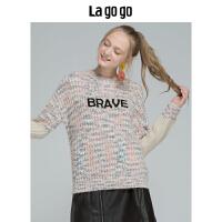 Lagogo/拉谷谷2019新款街头时尚慵懒风针织衫女HCMM46YM24