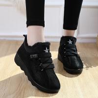 2018冬季新款增高厚底女棉鞋加绒保暖高帮运动鞋女式休闲棉鞋韩版 黑色 黑色