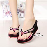 费新款越南鞋平仙鞋女人字拖鞋夹指坡跟水钻休闲拖鞋