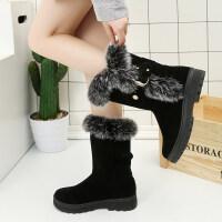 雪地靴女冬2018新款韩版百搭棉鞋短筒靴加厚保暖滑短靴 黑色