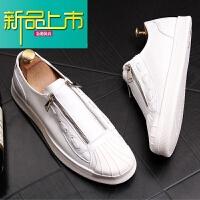 新品上市青年潮男小白鞋韩版时尚个性休闲鞋透气鞋套脚懒人鞋男士皮鞋
