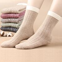 女士中筒棉袜秋冬季加厚深色双纱纯色棉质女袜子休闲潮流复古日系
