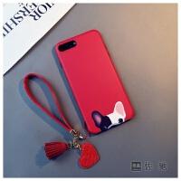 20190420055220102红色斗牛犬iphone6s plus手机壳苹果6硅胶8挂绳狗7卡通XR女Xs max