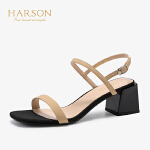 【秋冬新款 限时1折起】哈森夏季休闲一字带粗跟羊皮高跟凉鞋