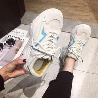 运动休闲鞋女2019新款时尚牛皮透气系带圆头休闲鞋慢跑运动鞋潮