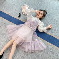 女童套装春装儿童洋气中大童两件套小女孩长袖吊带裙