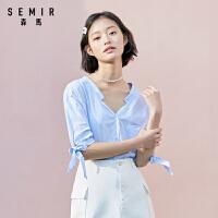 森马2020夏季新款纯棉短袖衬衫女V领甜美蝴蝶结寸衫白色宽松上衣