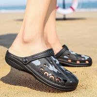 夏季防水防滑男士半拖鞋男洞洞鞋软底沙滩鞋