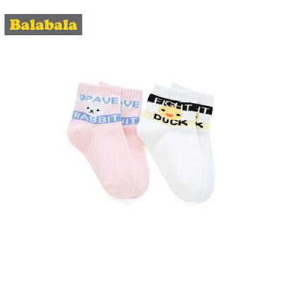 巴拉巴拉女童袜子春季新款短袜儿童棉袜保暖卡通小女孩两双装卡通