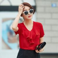 潮流女装2019夏季新款荷叶边V领上衣女纯色短袖雪纺衫