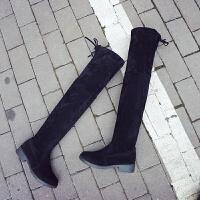 秋冬季新款粗跟过膝长靴女士黑色平底低跟长筒靴子